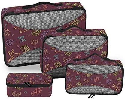 マスクパーティー荷物パッキングキューブオーガナイザートイレタリーランドリーストレージバッグポーチパックキューブ4さまざまなサイズセットトラベルキッズレディース