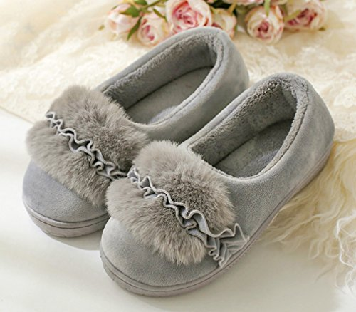 Womens House Slippers Indoor Outdoor Flower Warm Cattior Slippers Shoes Gray qOHIdfw