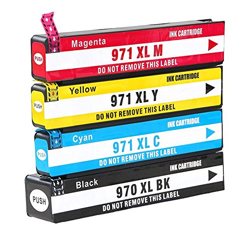 B-T Compatible 970XL 4 Pack (1B+1C+1M+1Y) Ink Cartridge Replacement for HP 970XL 971XL 970 XL 971 XL for HP Officejet Pro X476dw X576dw X476dn X451dw X551dw X451dn MFP ()