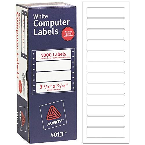 Avery 4013 Dot Matrix Mailing Labels, 1 Across, 15/16 x 3 1/2, White (Box of 5000) ()