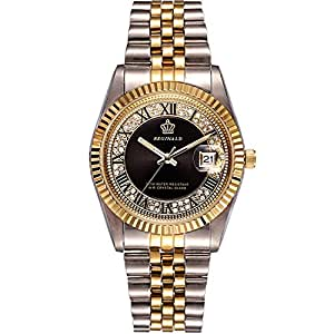 PASOY Unisex Stainless Steel Watch Luminous Hands Diamond Dial Gold Quartz Mens Womens Waterproof Watches (Black dial)