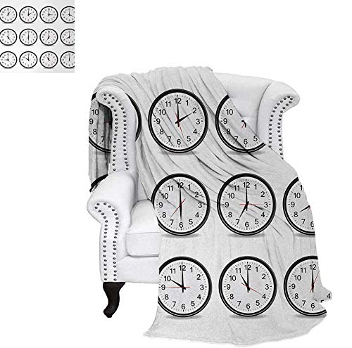 Custom Design Cozy Flannel Blanket Clocks with Numbers That Show Every Hour Illustration Hour and Minute Hand Theme Lightweight Blanket 70