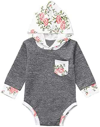 2c43b6f44a258 ZHANGVIP Infant Toddler Kids Baby Girl Floral Printed Hooded Romper  Jumpsuit Bodysuit Playsuit Outfits Clearance