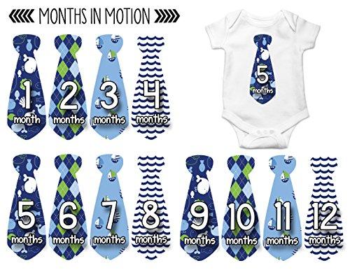 Months in Motion 754 Monthly Baby Stickers Necktie Tie Baby Boy Months 1-12
