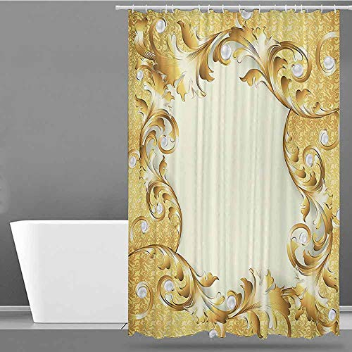 rtain,Pearls Decoration,Shower stall Curtain,W55x86L Cream Golden ()