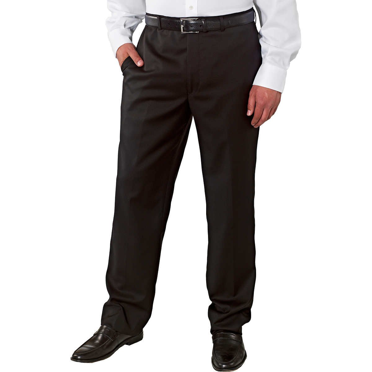 Kirkland Signature Mens Wool Flat Front Dress Pant-Open Bottom Hem (36X32, Black) by Kirkland Signature. (Image #1)