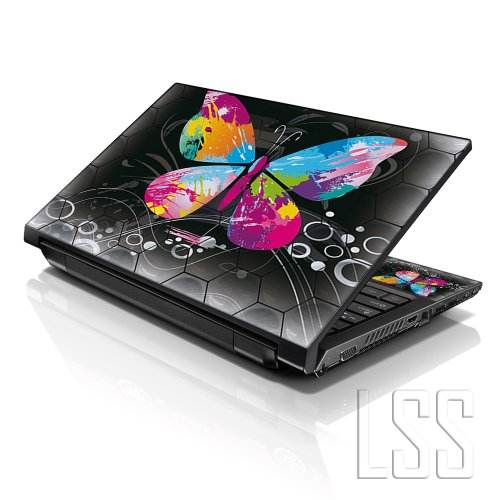 LSS 15 15.6 inch Laptop Notebook Skin Sticker Cover Art Decal Fits 13.3 14 15.6 16 HP Dell Lenovo Apple Asus Acer Compaq (Free 2 Wrist Pad Included) Multi Colored Butterfly