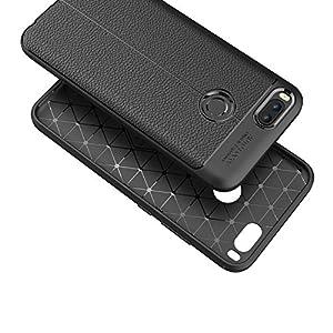 Xiaomi Mi A1 Case, Xiaomi Mi 5X Case, MAKAVO Silicone Back Cover Leather Texture Shock Absorption Anti-scratch Raised Bezels Soft Protective Shell for Xiaomi Mi5X / MiA1 (Black)