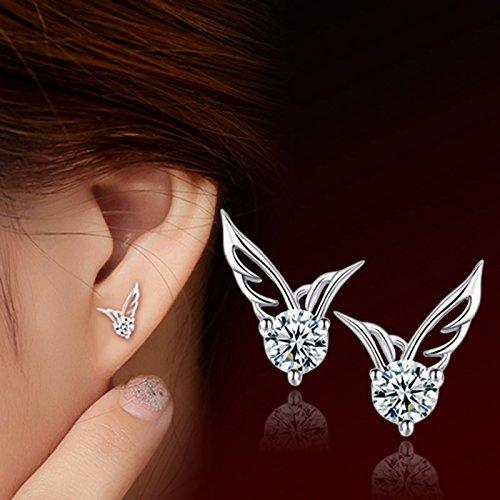 Cute Angel Wings (Eternity J. Silver Crystal Angel Wings Earrings Tiny Cute Allergy Free Ear Studs Ear Clip Pin Christmas Gift)