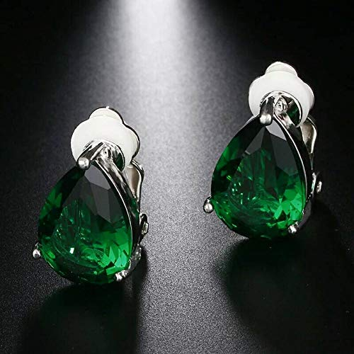 Tanakorn Water Green-Silver Drop Cubic Zirconia Clip Earrings with Elegant Blue Stone Earrings for Punk Girl Party GIF