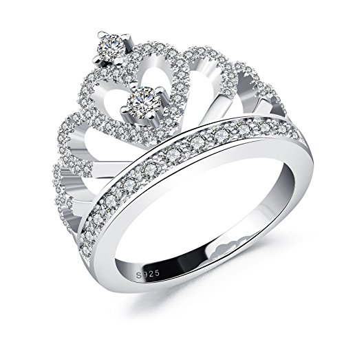 Cubic Zirconia Heart Band - DALARAN Vintage Heart Shape Tiara Crown Ring for Women Cubic Zirconia Princess Wedding Engagement CZ Band Size 8