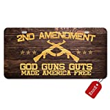 #7: EnnE Personalized Metal License Plate Cover 2Nd Amendment God Guns Guts Made American Free For Car 2 Holes Car Tag 11.8 inch X 6.1 inch