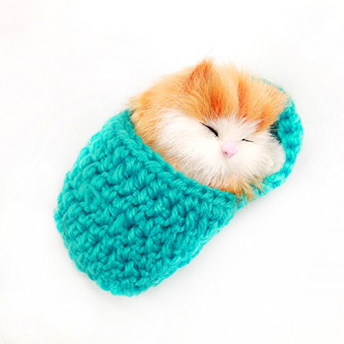 HENGSONG Cute Simulation Sleeping Cat Toys with Sound Mini Kittens Cat Toys Doll Plush Toys Birthday Gifts Christmas Decoration
