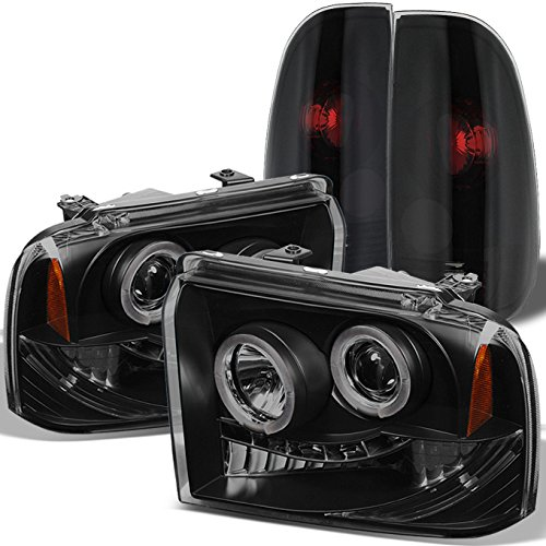 For Black Smoked Ford 2005-2007 F250 F350 F450 F550 Dual Halo Projector LED Headlights + Tail Light ()