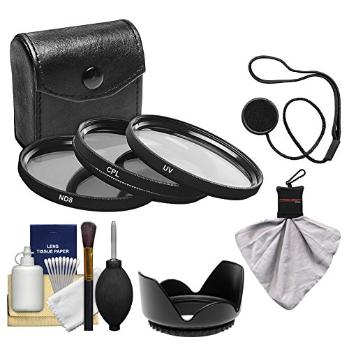 Precision Design 3-Piece Multi-Coated HD Pro UV/CPL/ND8 Filter Set (72mm) with Lens Hood + Kit