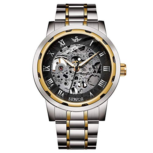 Watch,Mens Watch,Luxury Classic Skeleton Mechanical Stainless Steel Watch with Link Bracelet,Dress Automatic Wrist Hand-Wind Watch ()