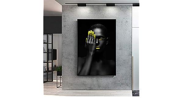 YuanMinglu Maquillaje Modelo Pop Art Imagen en Lienzo Mujer Africana Moderna Negro Chica Pared Arte Lienzo decoración Sala de Estar Pintura sin Marco 30x45 cm: Amazon.es: Hogar