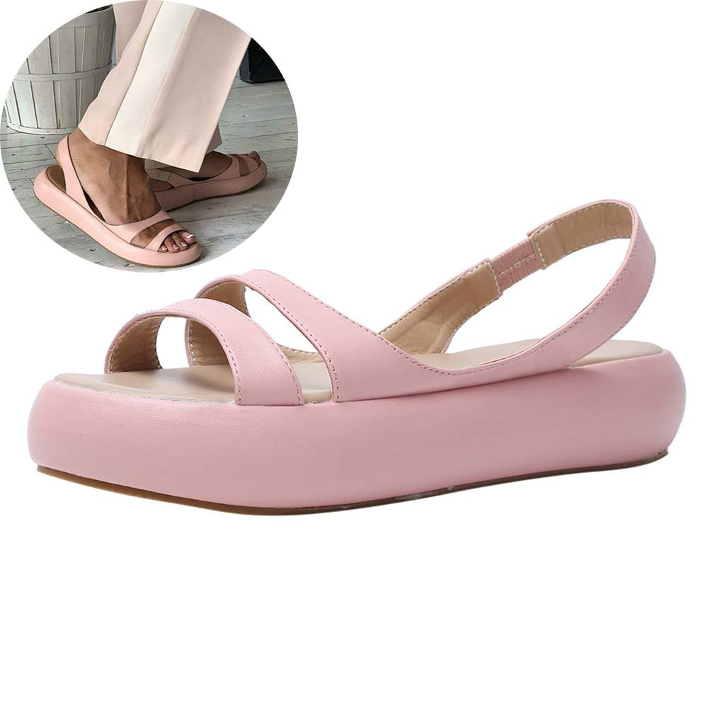 Clearance! Swiusd Womens Girls Flat Buttom Sandals Air Cushion Soft Comfy Elastic Strap Casual Shoes PU Leather Platform Sandals (Pink, 6) by Clearance! Swiusd