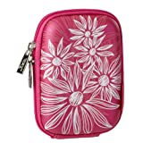 RivaCase 7022 PU Compact Case for Point and Shoot Digital Camera - Pink Flowers