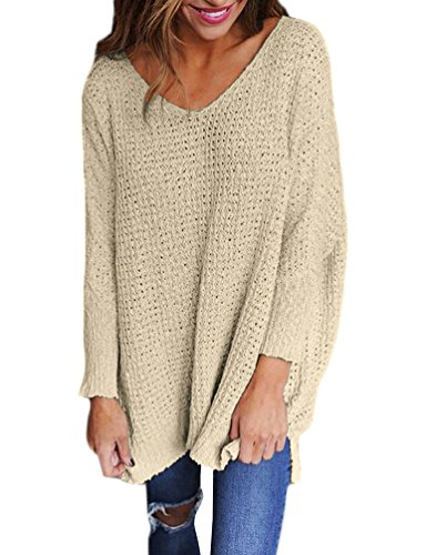 Pull Long Femme Pull Maille Oversize Pull Over Ample Pulls Col V Sweater Manche Longue Chandail Tricot