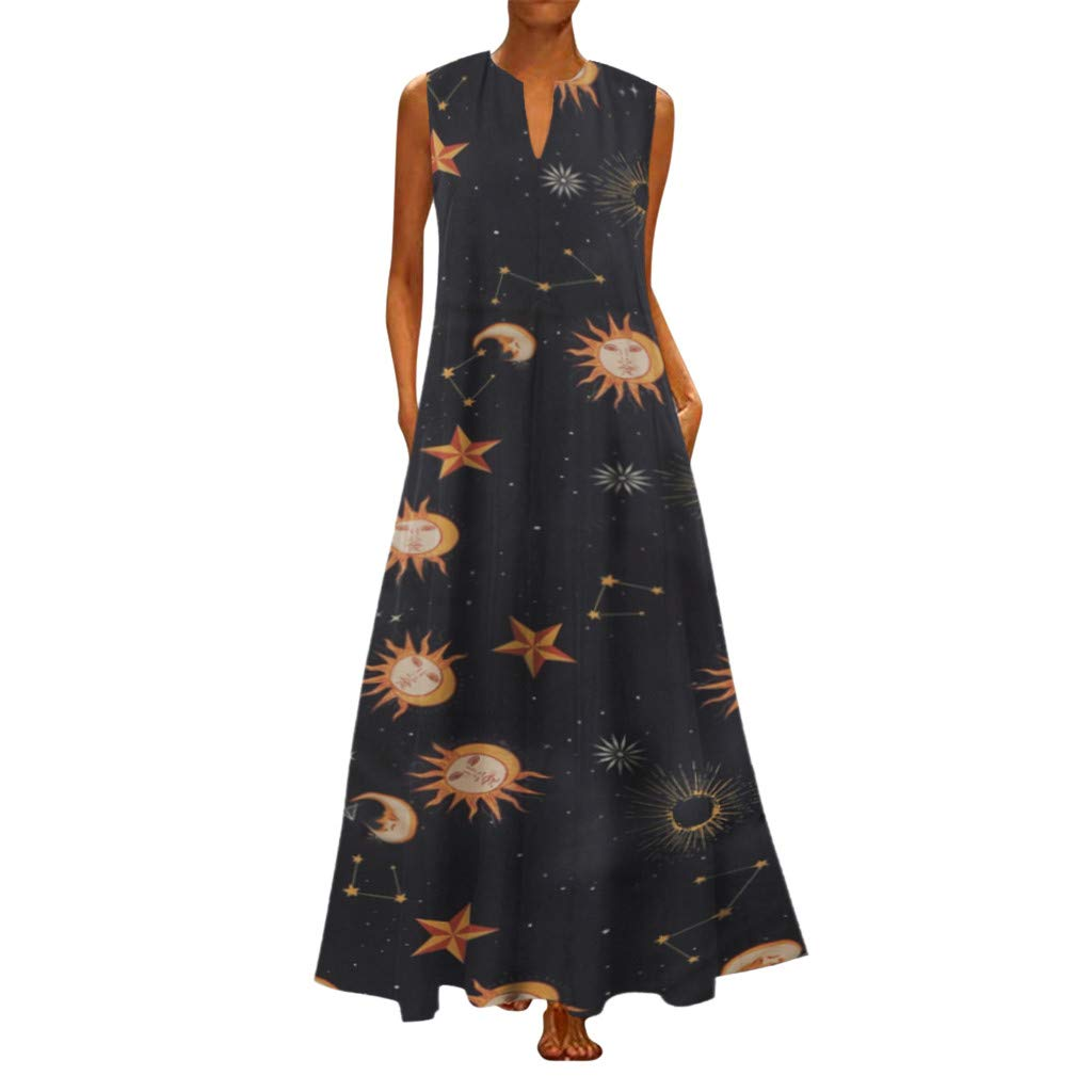 Sunhusing Ladies Casual Large Size Vintage Style Sun Stars Moon Printed V-Neck Sleeveless Boho Maxi Dress Orange by Sunhusing
