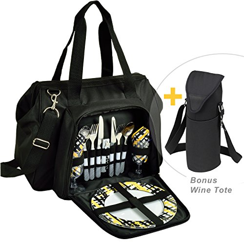 (Picnic at Ascot Cooler Equipped for 2 with Extra Wine Tote - Designed and Assembled in California -)