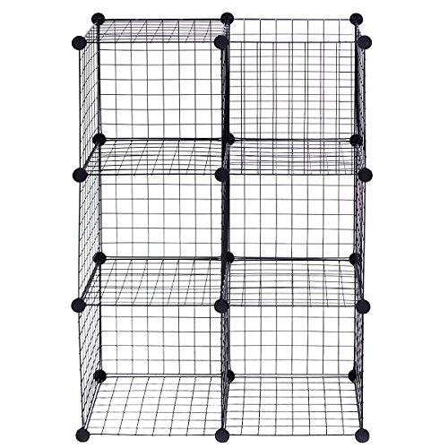 Price comparison product image NanaPluz Black 6 Wire Cube Grid DIY Shelves Multi Function Storage Box w / Ebook