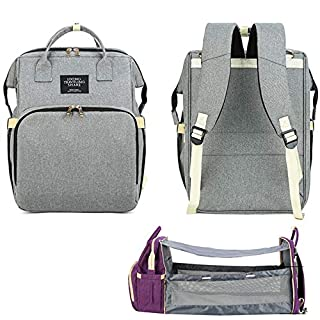 Large Capacity Diaper Bag Backpack with Folding Crib Outdoor Multifunctional Baby Bag,Gray