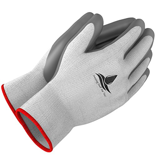 Super Sized Image - Garden Gloves for Women and Men - (2 pairs per package) - Super Grippy with Special Protective coating against cuts for Gardening - Fishing - Auto and Work activities - Medium, Red Hem