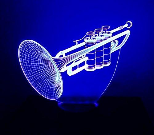 3D LED Night Light - Trumpet Light - Trumpet Lamp - 7 Changing Colors Touch USB - Home Office Desk Lamp - 3D LED Music Light - Desk Light - Wedding Christmas Party Decoration Centerpieces