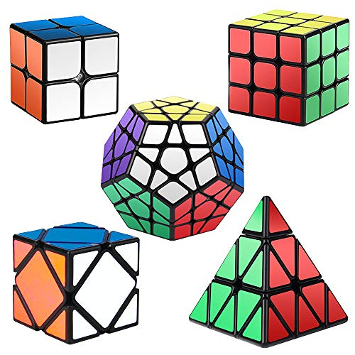 (Roxenda Speed Cubes, [5 Pack] Speed Cube Set - 2x2x2 3x3x3 Megaminx Skew Pyramid Cube Smooth Magic Cubes Collection Puzzle Boxes Toy)
