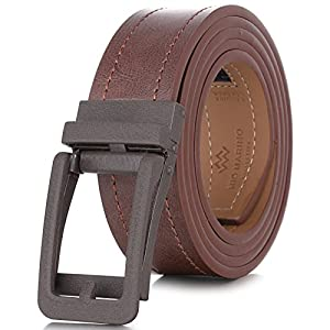 "Marino Avenue Genuine Leather belt for Men, 1.3/8"" Wide, Casual Ratchet Belt with Automatic Linxx Buckle, Enclosed in an Elegant Gift Box - Coffee Brown Style - 183 - Adjustable from 28"" to 44"" Waist"