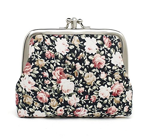 Buckle Purse - Patty Both Cute Classic Floral Exquisite Buckle Coin Purse (Black 02)