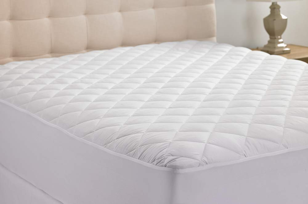 Queens Size Hypoallergenic Quilted Stretch-to-Fit Mattress Pad By Hanna Kay, 10 Year Warranty-Clyne Collection USA SYNCHKG042739