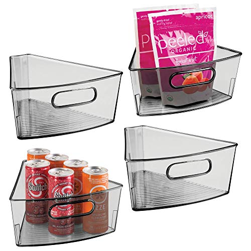 mDesign Kitchen Cabinet Lazy Susan Storage Organizer Bin with Front Handle - Small Pie-Shaped 1/8 Wedge, 4