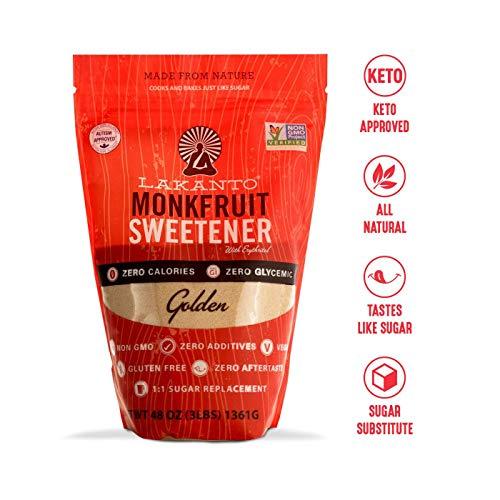 Lakanto Monkfruit Sweetener, 1:1 Sugar Substitute, Keto, Non-GMO (Golden - 3 lbs)