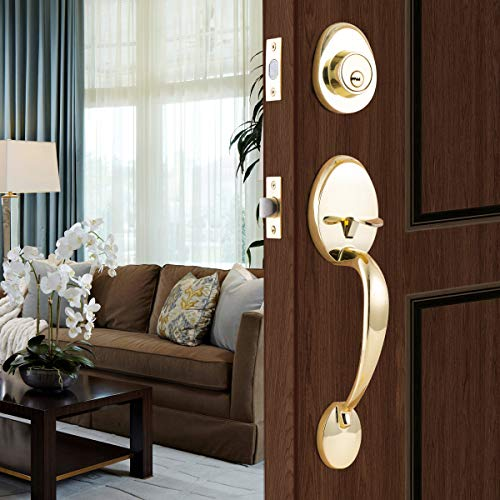 STAR-BRIGHT Single Cylinder HandleSet with Lever Door Handle (for Entrance and Front Door) Reversible for Right and Left Handed and a Single Cylinder deadbolt Handle Set Polished Brass Finish