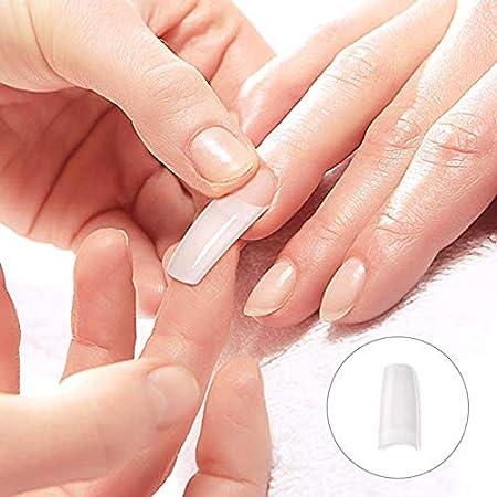 500 piezas de uñas postizas de estilo francés acrílico artificial con punta de manicura con caja de 10 tamaños para uñas, salones de belleza y bricolaje: ...