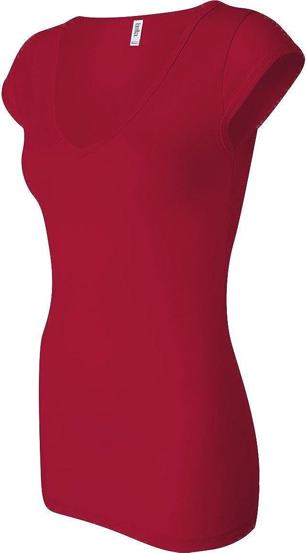 Bella Ladies Ringspun Cotton/Spandex Sheer Deep V-Neck Cap Sleeve T-Shirt. B8705