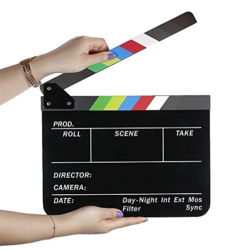 Neewer Dry Erase Director`s Film Movie Clapboard Cut Action Scene Clapper Board Slate with Colorful Sticks