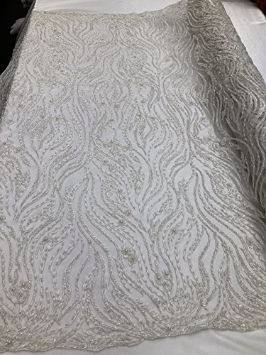Beaded Zebra Pattern Embroided Lace Fabric - Ivory - Beads Embroidery Mesh Lace Lines Design Fabrics Sold By The Yard ()