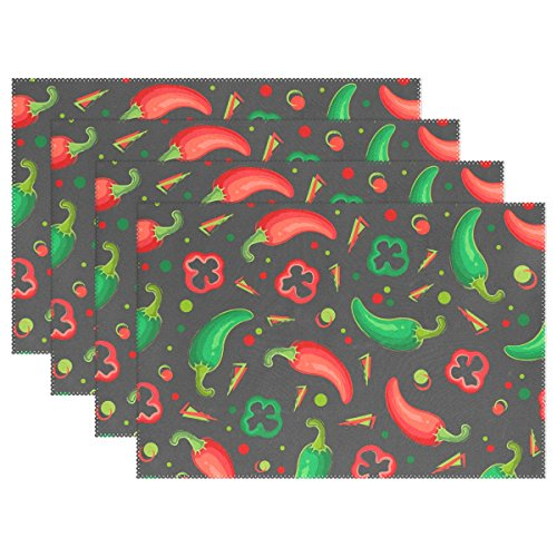 WellLee Green Red Jalapeno Peppers Placemat Set of 4 Polyester Plate Holder Table Mats for Kitchen Dining Room,12x18 ()