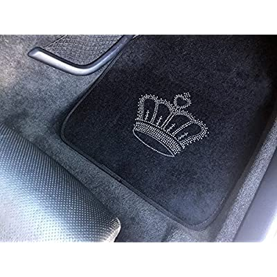 CarsCover King Crown Crystal Diamond Bling Rhinestone Studded Carpet Car SUV Truck Floor Mats 4 PCS: Automotive