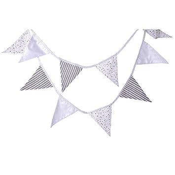 handgemachte Wimpel-Girlande aus Baumwolle KraftKids Stoff-Wimpelkette Chevron dunkelblau grau wei/ß