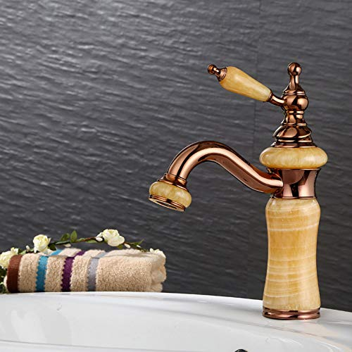 (HDLWIS Modern Bathroom Sink Faucet, European Rose Gold Basin Mixer with Ceramic Spool, Vacuum PVD Plating Surface, Brass)