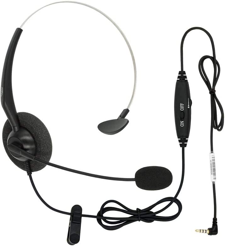DailyHeadset 3.5 mm Jack Hands Free Cell Phone Headset On Ear Headphones with Microphone Mute & Volume Control On Cord