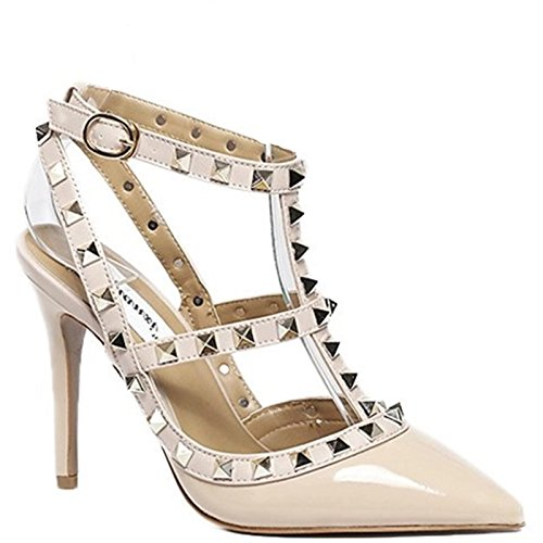 1393eca58f6c Sandaletten Damen Elegante Abend Shoes Stilettos Schuhe High Riemchen King  Of Beige Lack Pumps Heels GH2