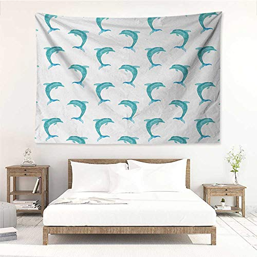 alisos Sea Animals,Wall Tapestry Hanging Aqua Watercolor Artwork Dolphin Figures Ocean Playful Marine Underwater Theme 60W x 51L inch Tapestry for Dorms Aqua White