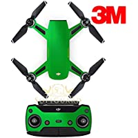 SopiGuard 3M Gloss Green Precision Edge-to-Edge Coverage Vinyl Sticker Skin Controller 3 x Battery Wraps for DJI Spark