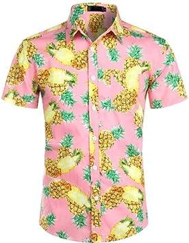 LFNANYI Hombre Camisas de Manga Corta Moda Impresión de Piña Playa Camisa Hawaiana de Algodón Camisa Floral Casual Hombres: Amazon.es: Deportes y aire libre